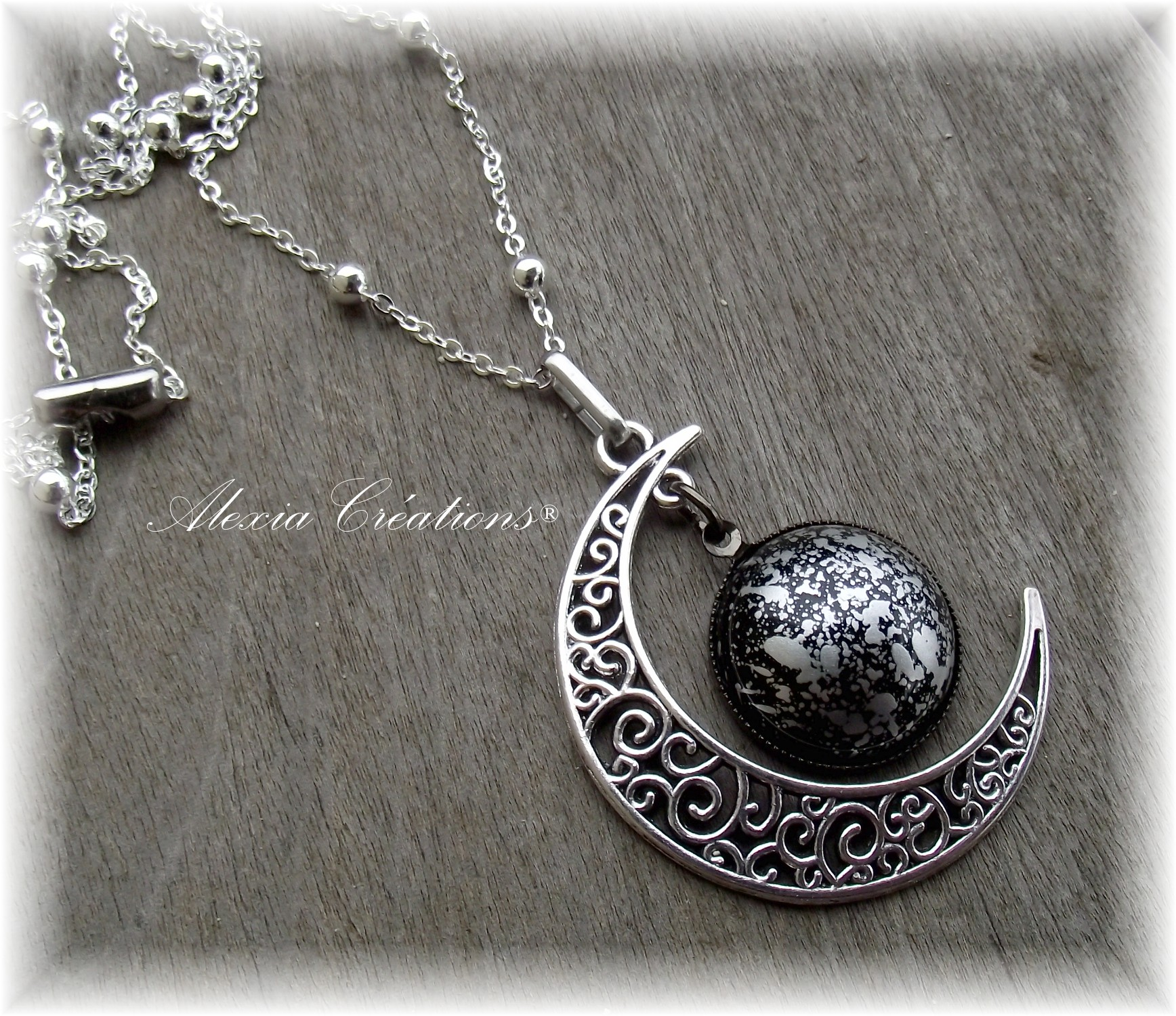 Sautoir Moon black silver