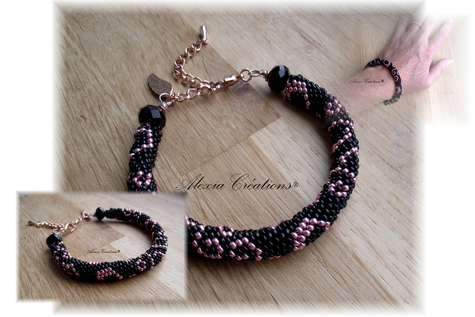 Peyote with a twist - Not crochet. Bracelet noir et rose gold