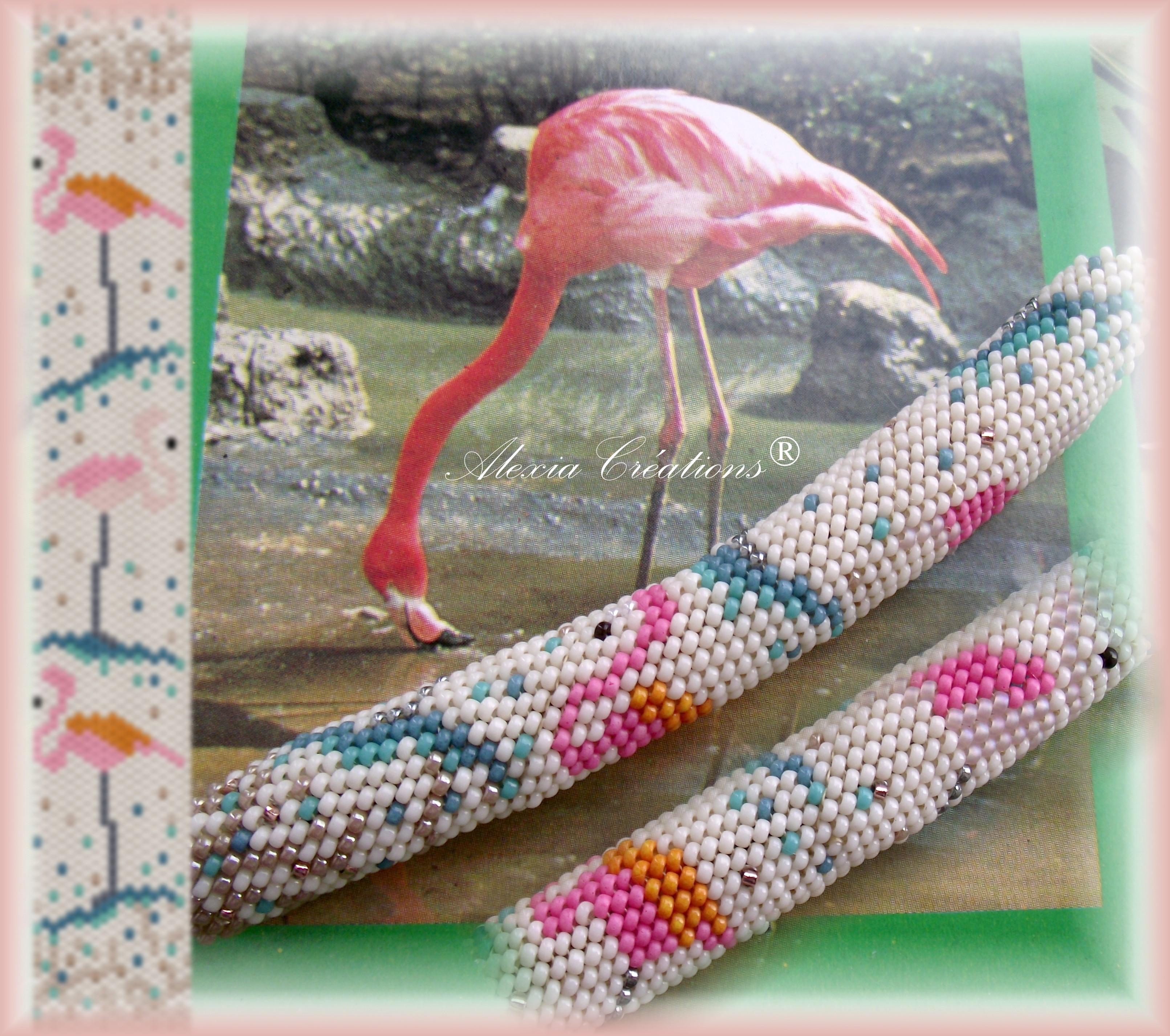 Peyote with a twist - not crochet. Schéma Flamant rose - Flamingo