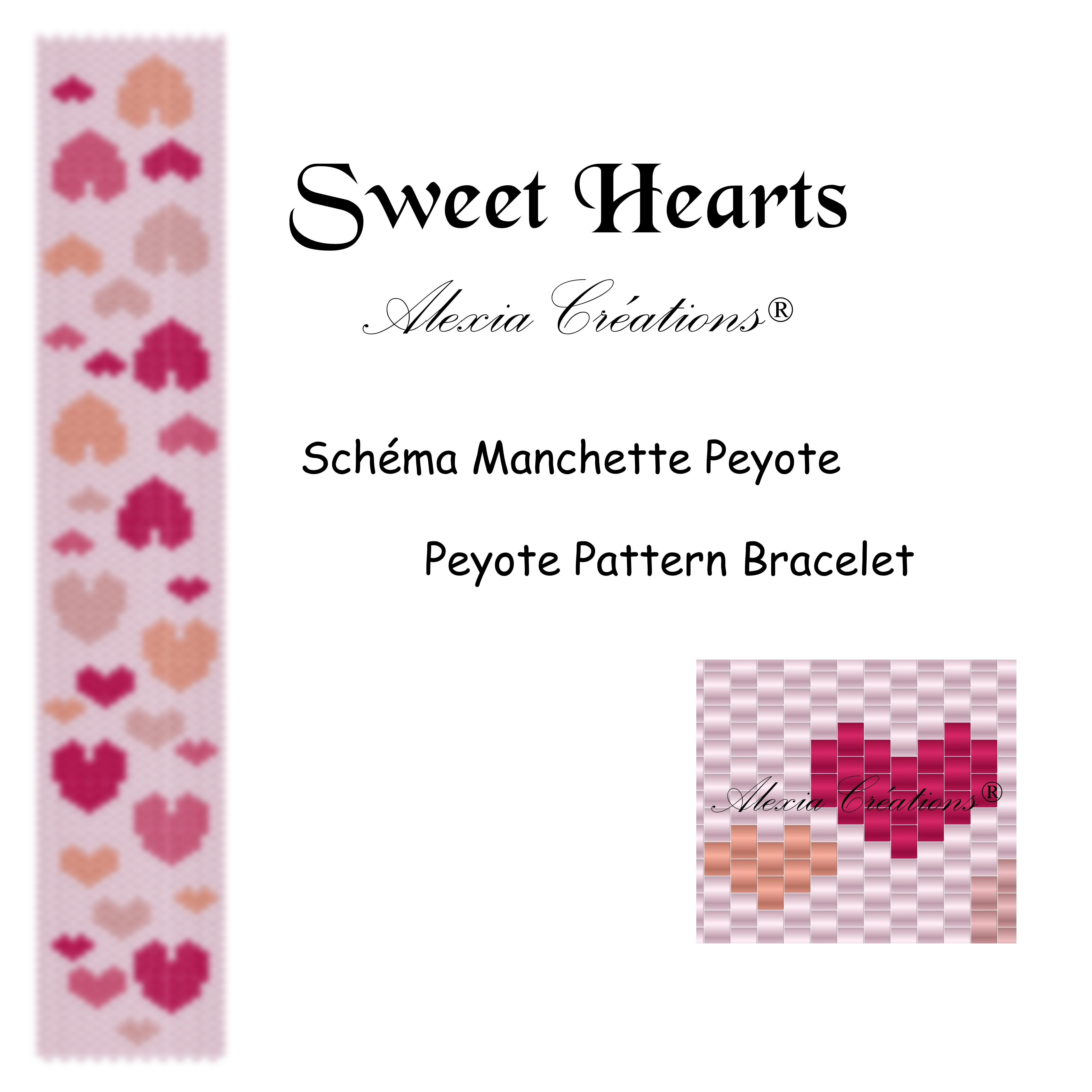 Manchette peyote Sweet Hearts