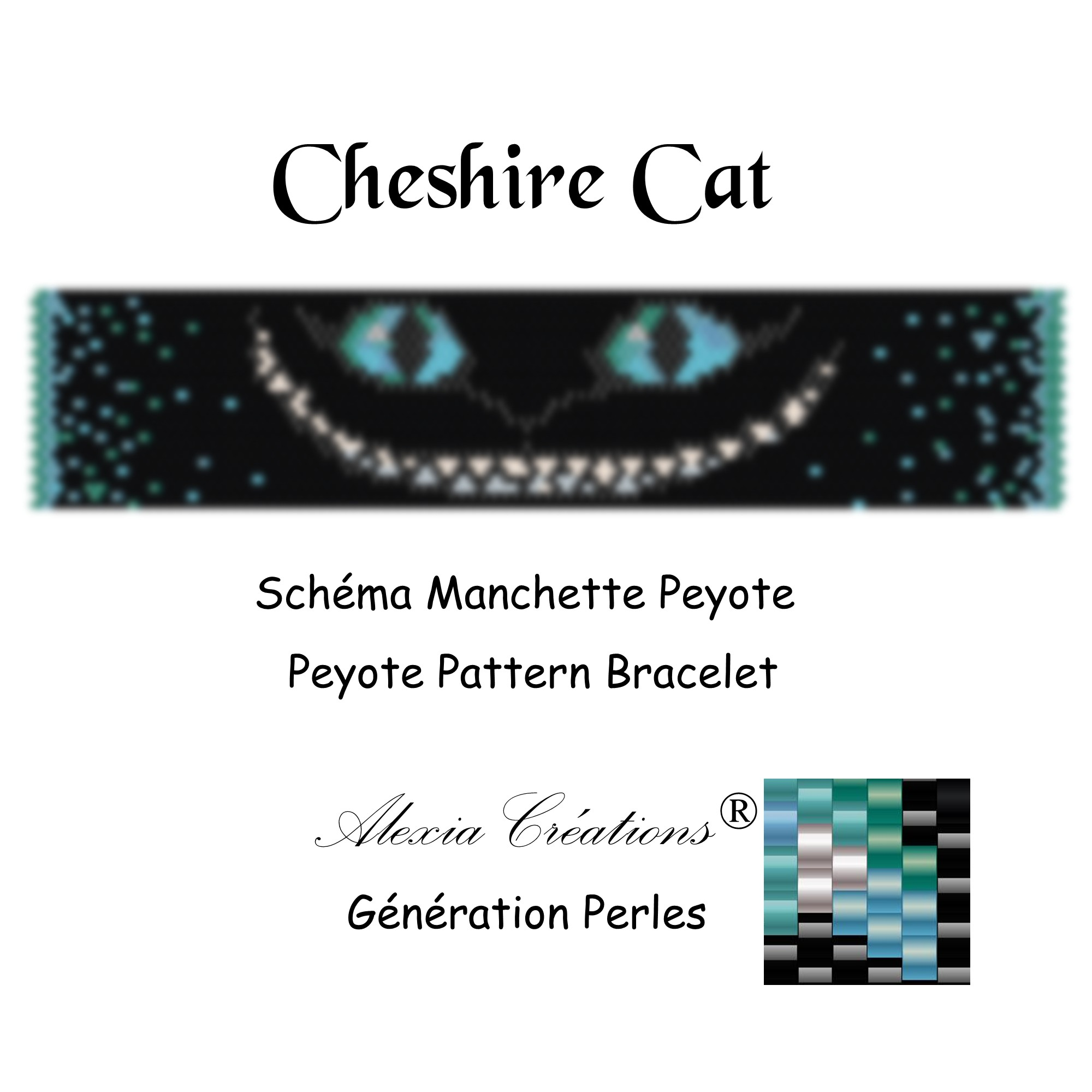 Manchette Cheshire Cat Bleu