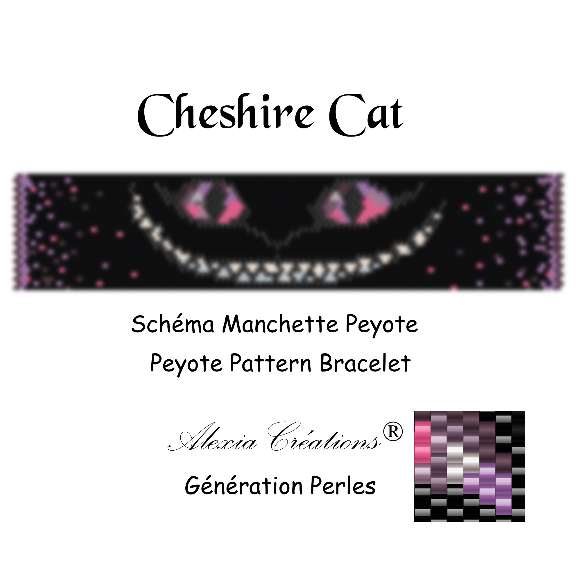 Manchette Cheshire Cat Violet Rose