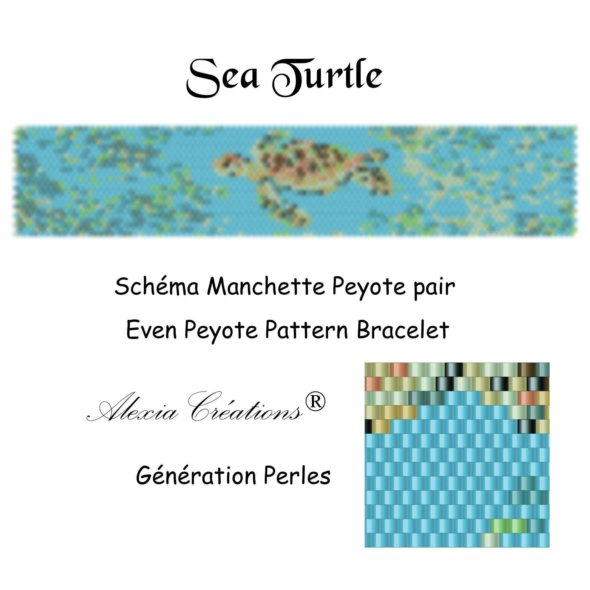 Manchette peyote pair Sea Turtle