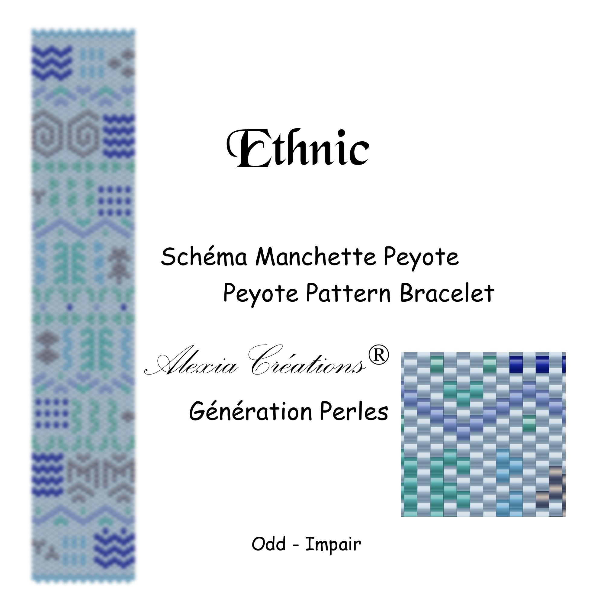 Manchette peyote impair Ethnic