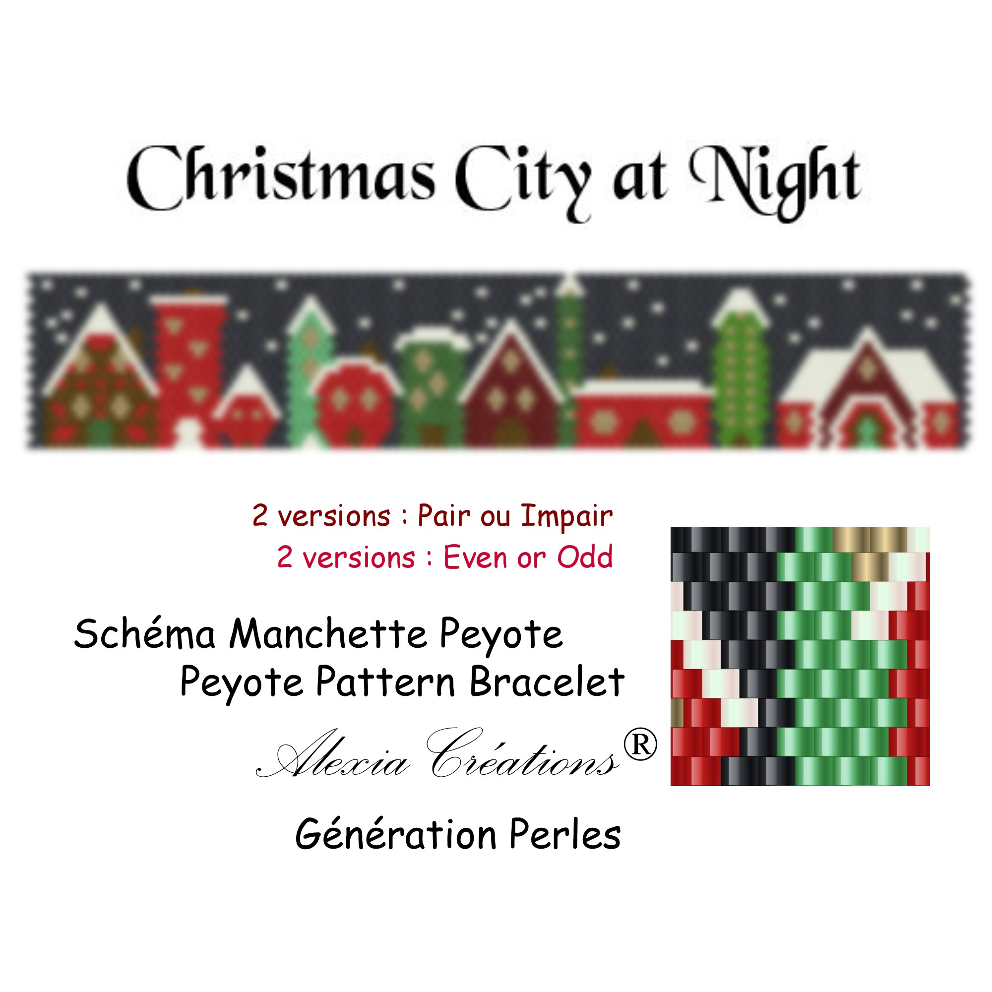 Manchette peyote Christmas City at Night