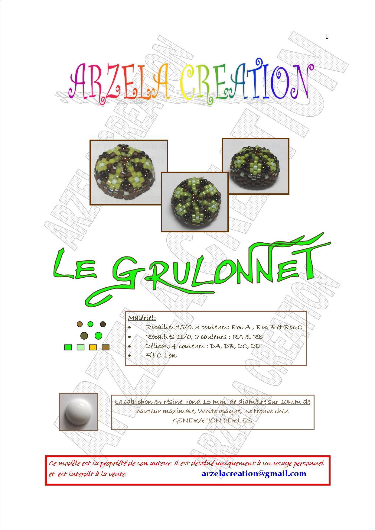 """Cabochon perlé """"Le Grulonnet"""" Grulonnet1"""